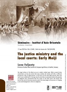 "he justice ministry and the local courts : Early Meiji legal reforms""  Lena Foljanty"
