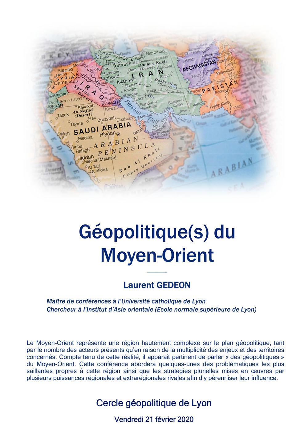 Laurent Gédéon « Géopolitique du Moyen-Orient »