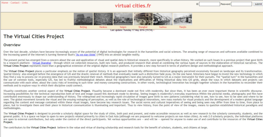 The Virtual Cities Project