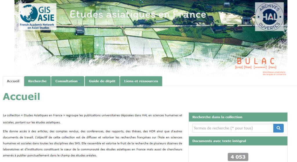 Collection HAL « Études Asiatiques en France »