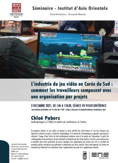 L'industrie du jeu vidéo en Corée du Sud : comment les travailleurs composent avec une organisation par projets, Chloé Paberz