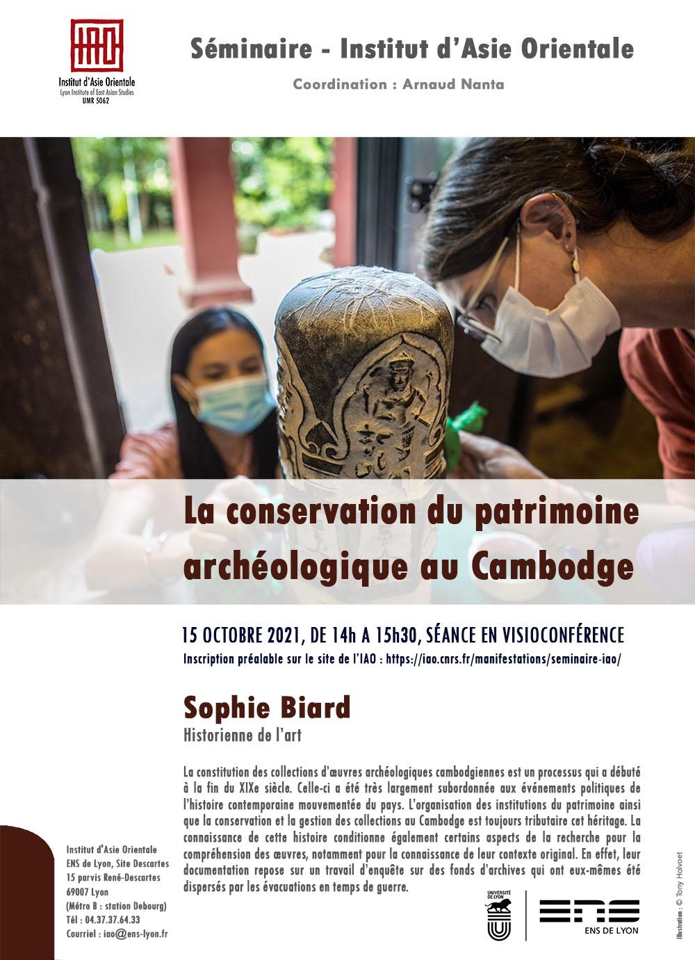 Sophie Biard, La conservation du patrimoine archéologique au Cambodge