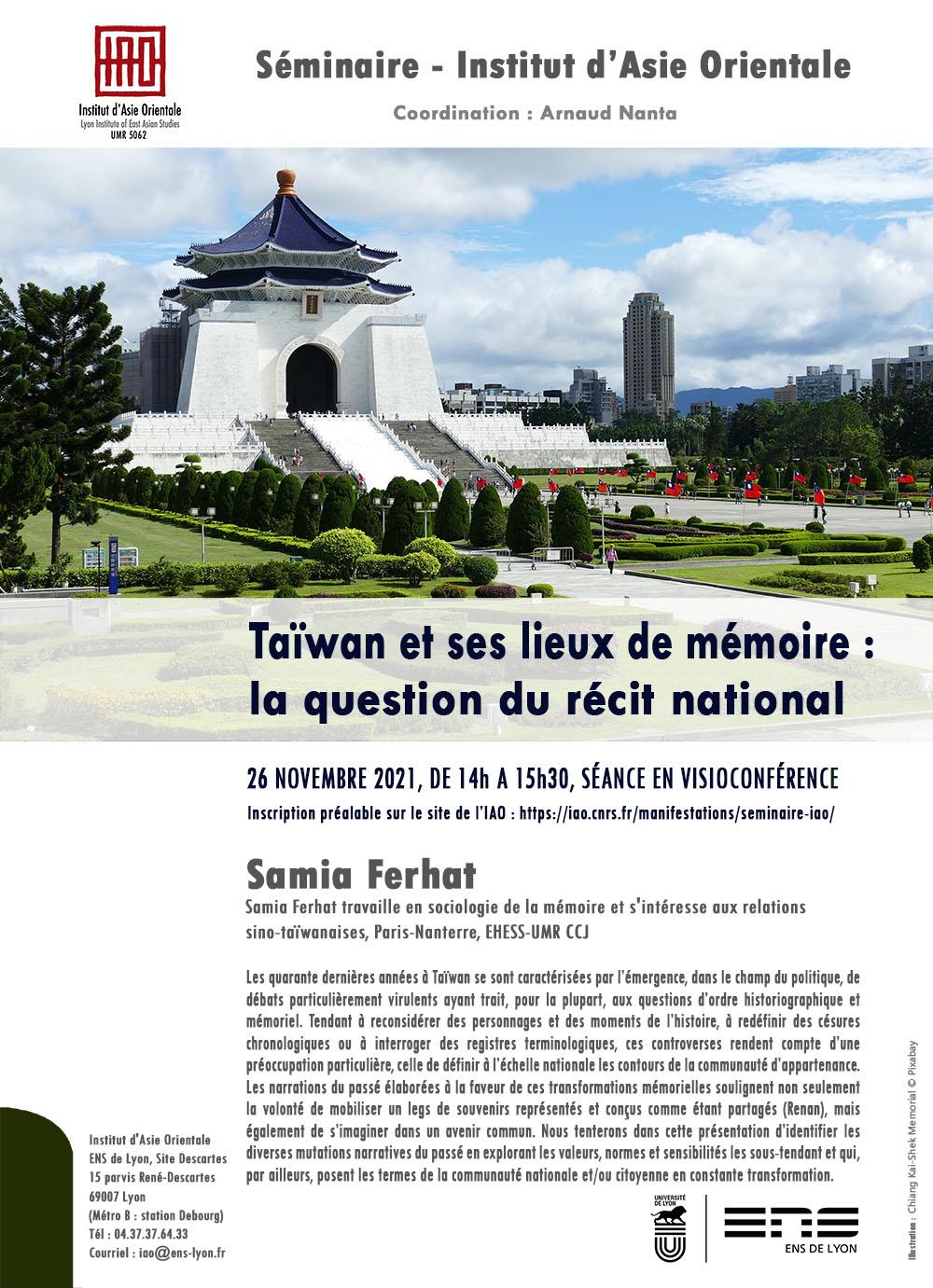 « Taïwan et ses lieux de mémoire : la question du récit national »  Samia Ferhat